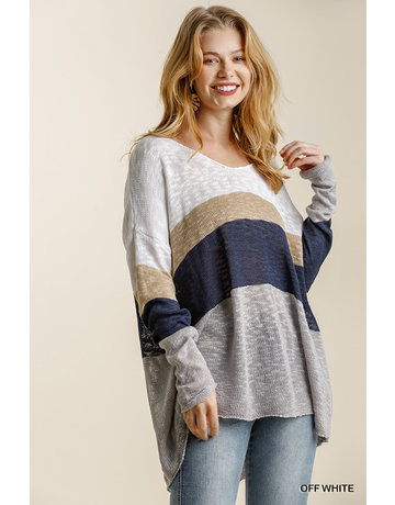 Umgee USA Color Block Loose Knit Sweater