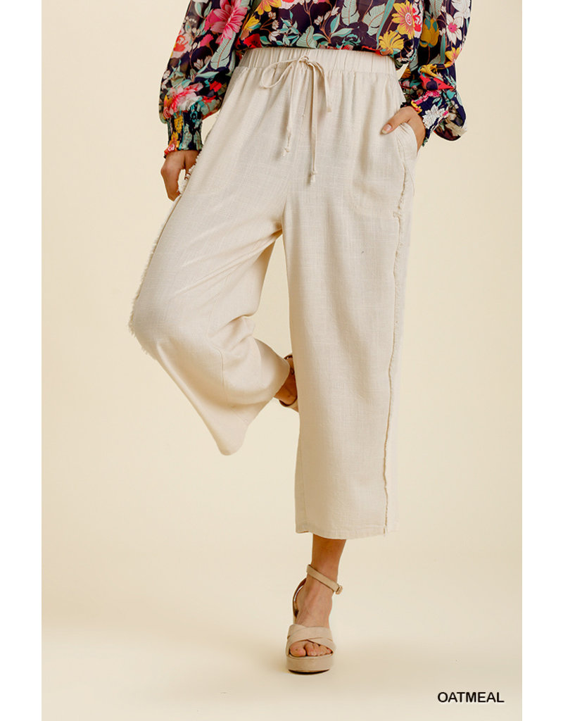 Umgee USA Frayed Edge Wide Leg Pant