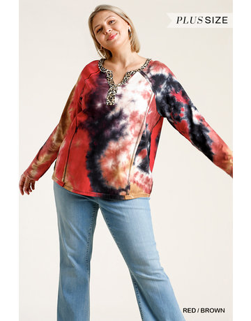 Umgee USA Tie Dye Animal Trim Top