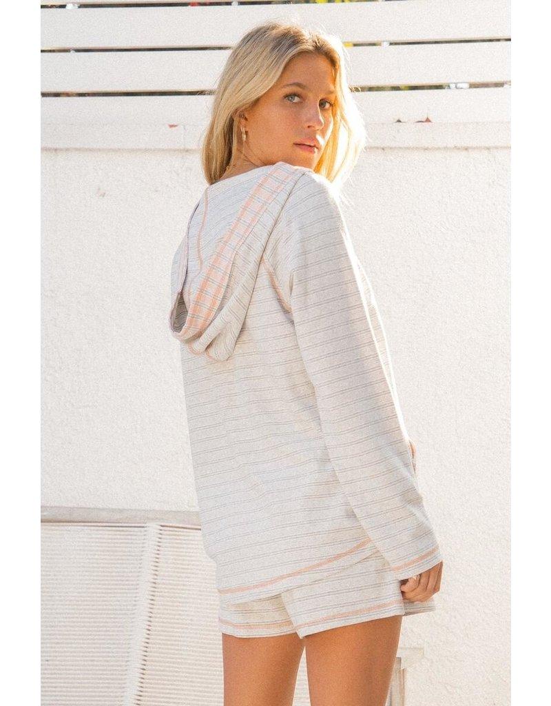 Hem & Thread Vintage Stripe Thread Detail Hoodie