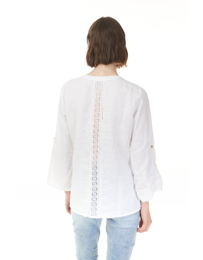 Roll-up Sleeve Linen Shirt with Sequins Detail