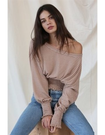 By Together LS Ribbed Smocked Waist Top