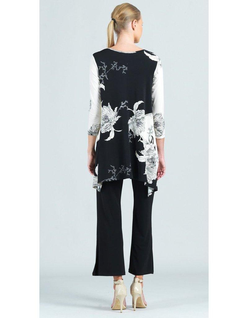 Floral Mum Print Vneck Knit Tunic