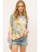 Mystree Tie Dye Swirl Sweatshirt