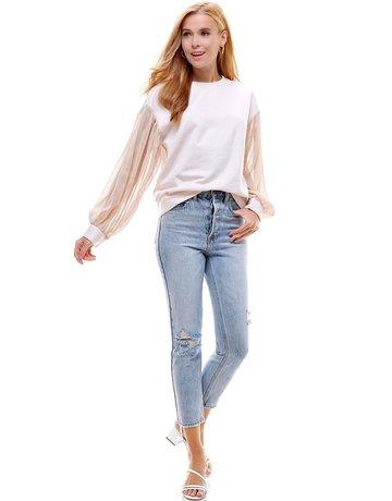 Ontwelfth Metallic Sheer Bloussant Sleeve Sweatshirt