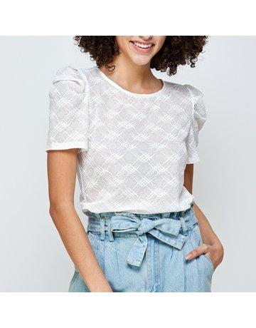 Ellison Textured Print Puff Sleeve Top