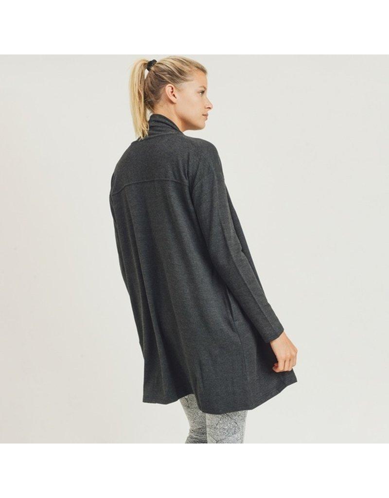Mono B Longline Open-Front Cardigan