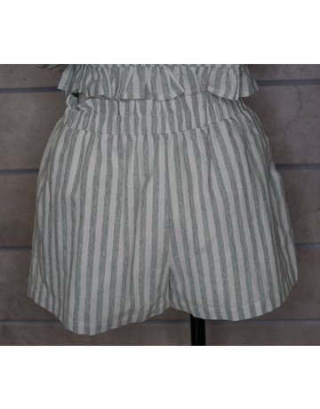Hem & Thread High Waist Elastic Vintage Stripe Shorts