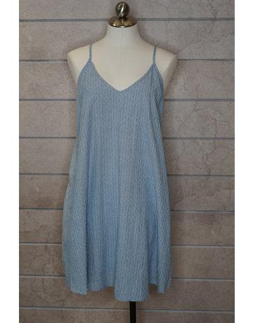 Hem & Thread Texture Chambray V-Neck Cami Mini Dress