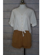 Hem & Thread V Neck Stripe Button Down Front Tie Blouse Top