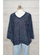 Lulu-B V-Neck Button BK Sweater Stripe
