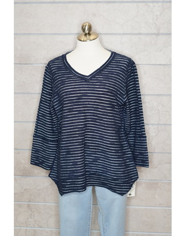 Lulu-B V-Neck Button BK Sweater Stripe