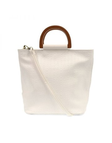 Joy Lily Woven Wood Handle Tote