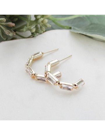 Baguette Hoop Earrings E-716