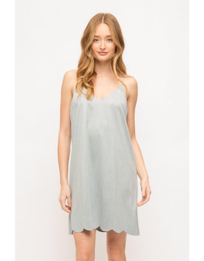 Mystree Scallop Hem Suede Dress