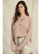 By Together Long Wide Slv Placket Sweater