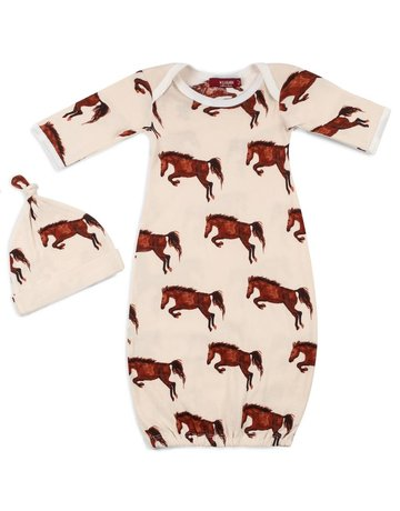 Milkbarn Bamboo NB Gown & Hat Set