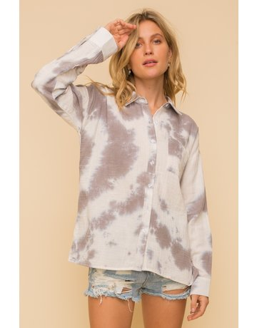 Hem & Thread Tie Dye Button Down Shirt
