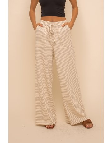 Hem & Thread Wide Leg Stripe Trousers