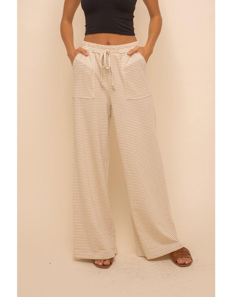Hem & Thread Wide Leg Stripe Trousers
