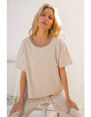 Hem & Thread Round Neck Oversized SS Top