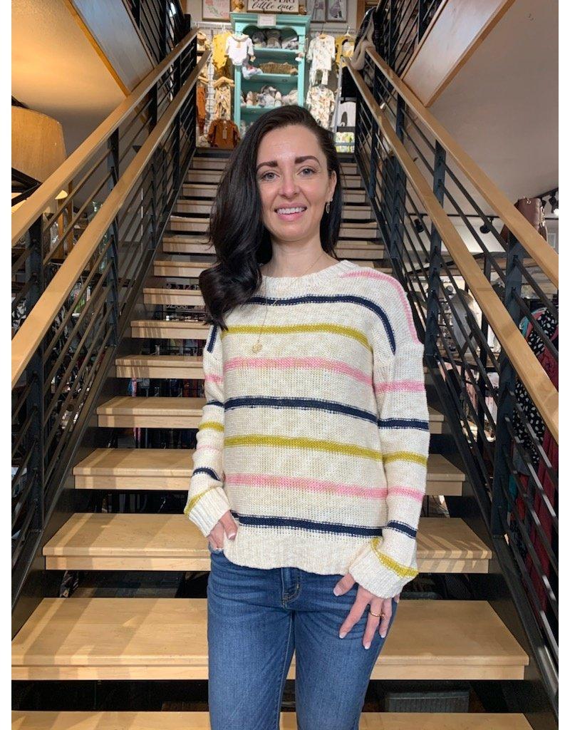 Hem & Thread Stripe Slub Pullover Sweater