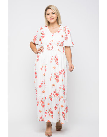 Wellmade Inc Floral Button Down Maxi Dress