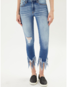 KanCan Mid Rise Hem Detail Ankle Skinny
