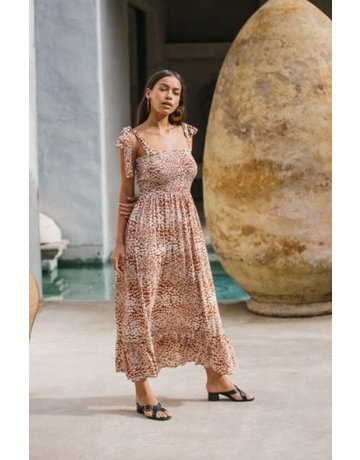 By Together Woven Rayon Viscose Smocked Maxi Dress