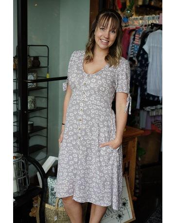 Hem & Thread Button Down Puff Slv Midi Dress