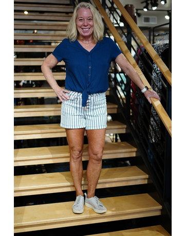 Judy Blue High Waist Stripe Patch Pocket Shorts