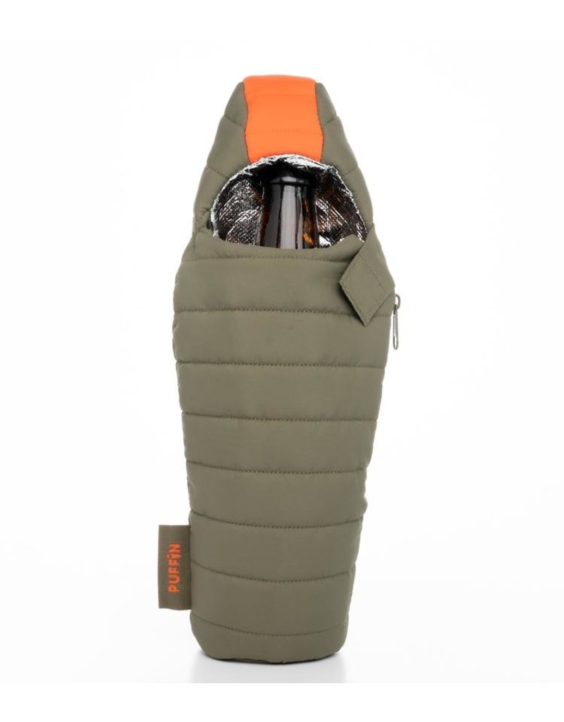 Puffin Coolers Green & Orange Beverage Bag