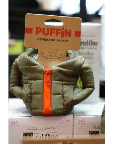 Puffin Coolers Green & Orange Beverage Jacket
