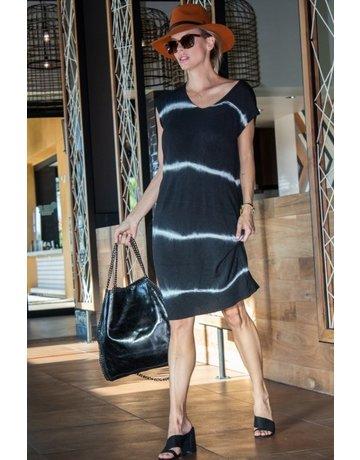 GigiModa Stripe Tie-Dye Cap Sleeve Dress