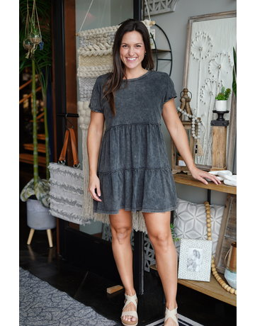 She & Sky Drop Shoulder Washed Tiered Tunic Dress