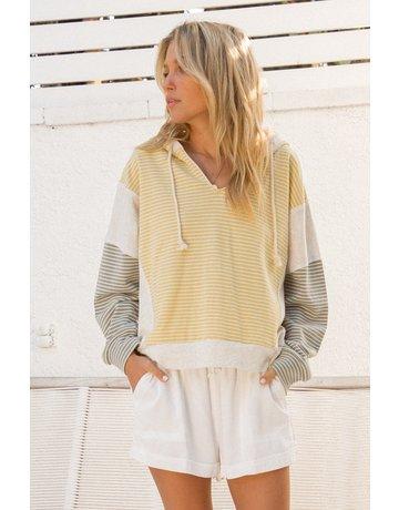 Hem & Thread Stripe Terry Color Block Hoodie