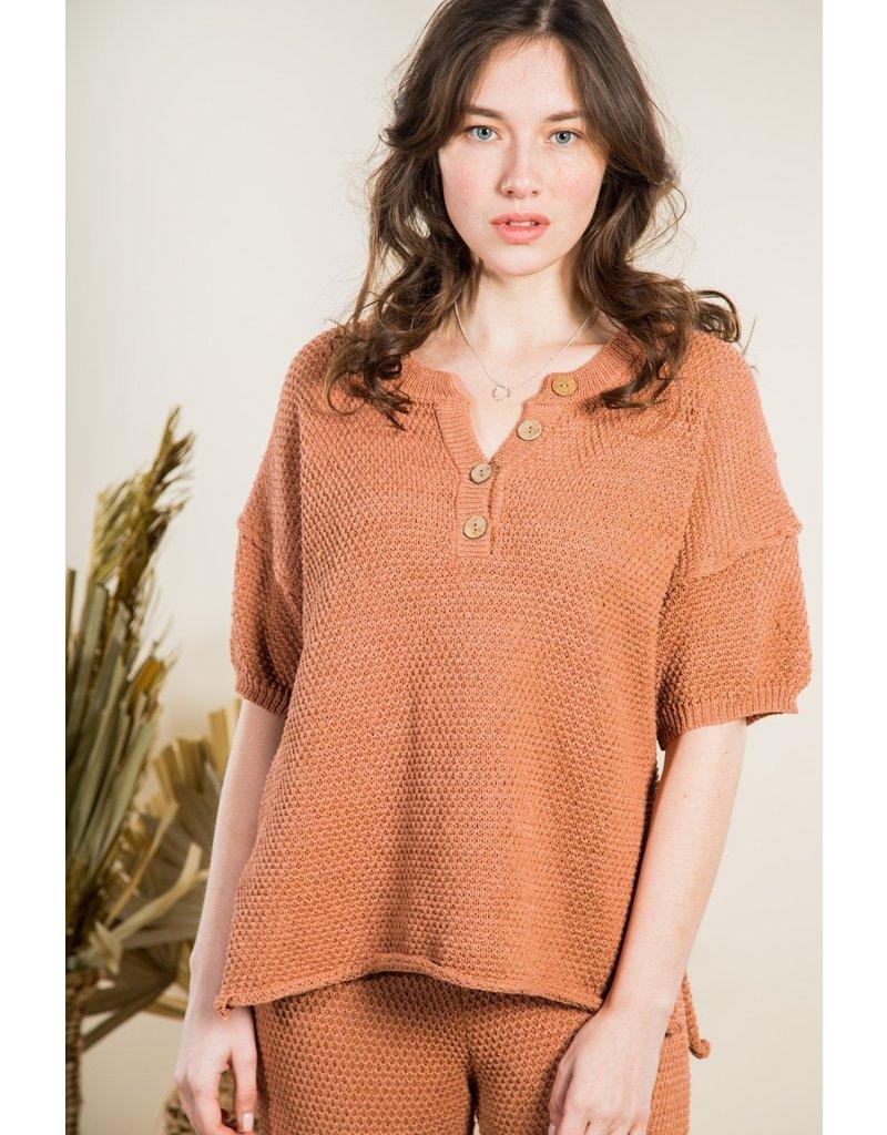 VeryJ Crochet Button Top