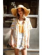 VeryJ SS Striped Crochet Kimono