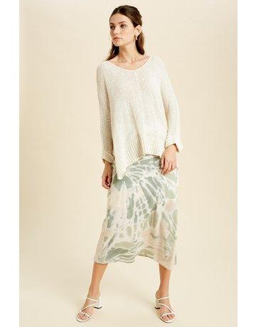 3/4 Slv Ribbon Yarn Sweater