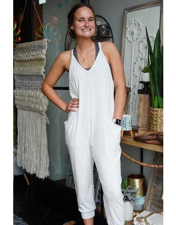 Hem & Thread V-neck Cami Rib Jumpsuit