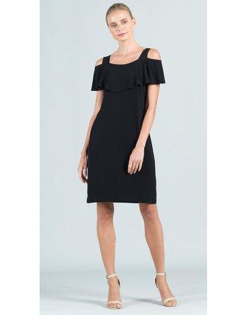 Solid Ruffle Open Shoulder Dress