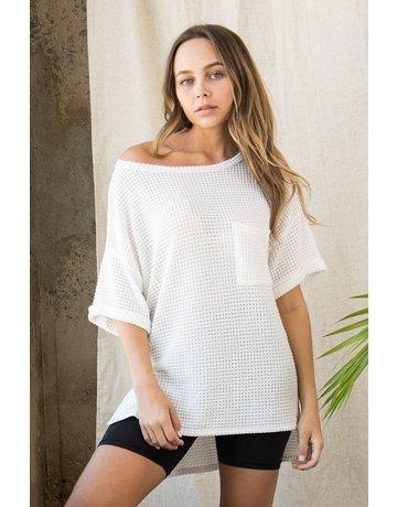 Wellmade Inc Drop Shoulder Knit Top