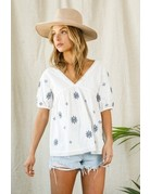 Wellmade Inc Embroidery Top
