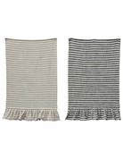 Creative Co-op Ruffle Striped Tea Towel