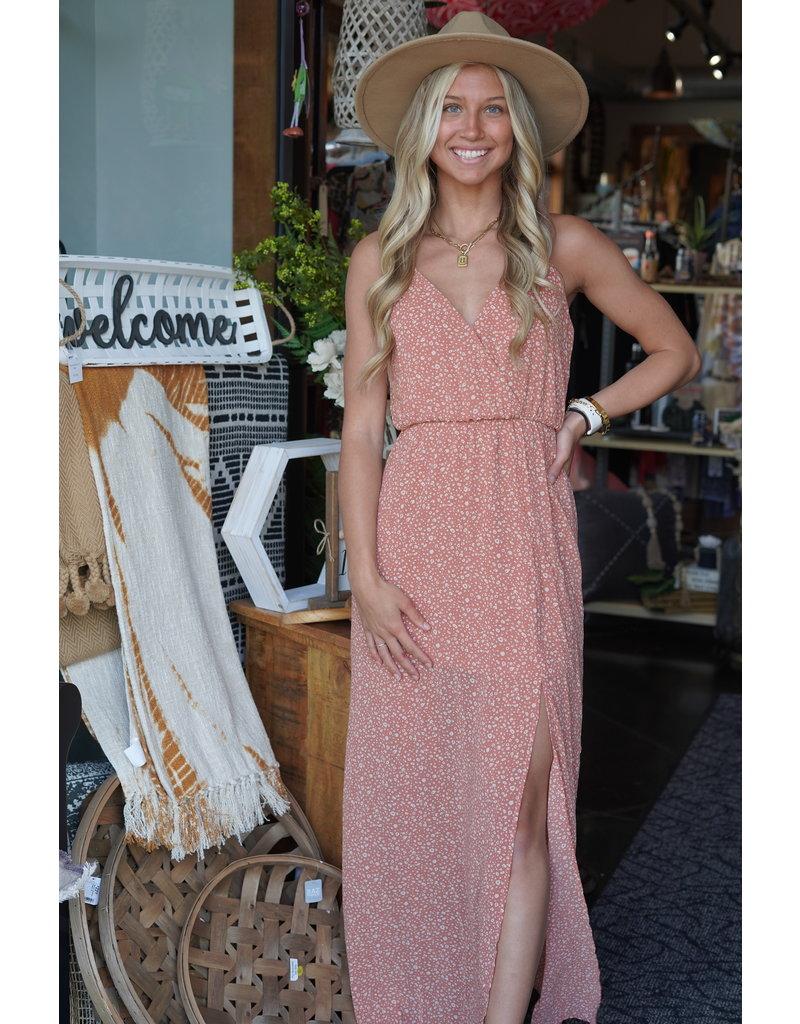 She & Sky Printed Cami Surplice Maxi Dress