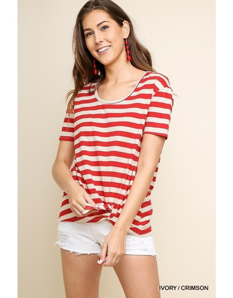 Umgee USA Striped SS Scoop Neck Top