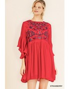 Umgee USA Bell Sleeve Keyhole Dress