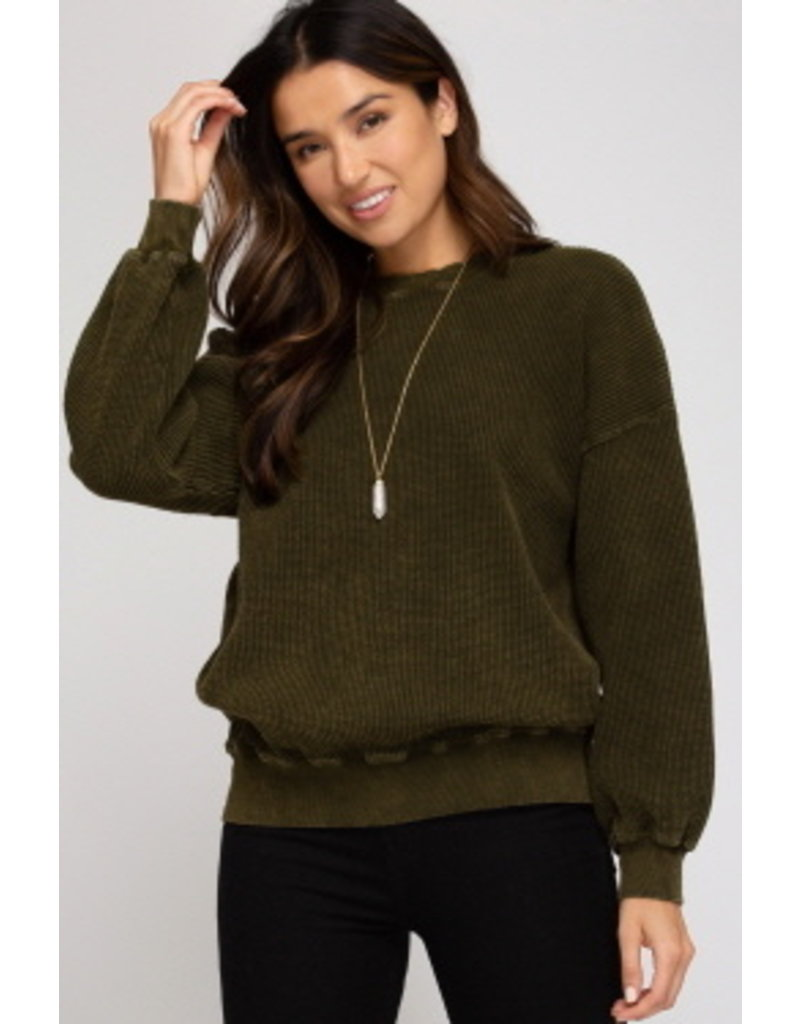 She & Sky LS Dyed Thermal Knit Top