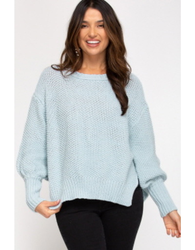 She & Sky LS Knit Jumper Top w/Side Slits