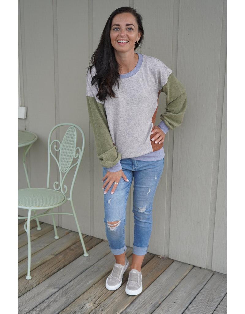 Hem & Thread Brushed Hacci Color Block Pullover